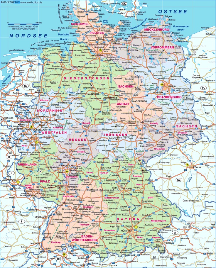 Bundeslander Deutschland Karte Bundeslander Und Ihrer Hauptstadte