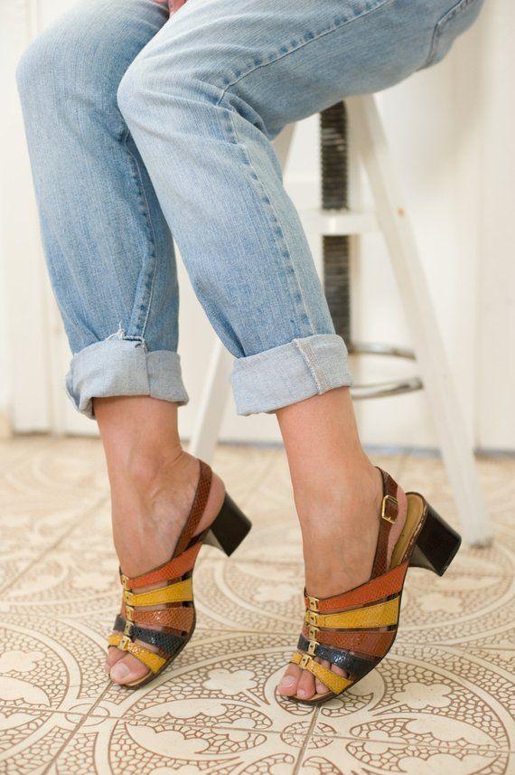 306993d3acd5a Vintage 70s sandals Sling back Block heel Strappy sandals Embossed ...