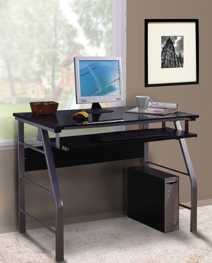 Black   Silver Metal   Glass Top Home   Office Computer Workstation Desk  With Pull Out Keyboard. Best 25  Computer workstation desk ideas on Pinterest   Office