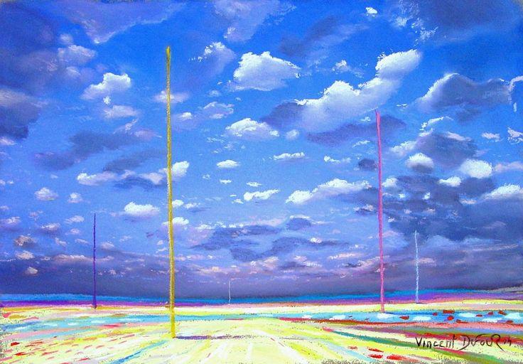 """Tableau """"Petits nuages"""" de Vincent Dufour (Pastel sec 27/39cm). Découvrez tous les tableaux """"Figuration libre"""" disponibles sur http://www.vincentdufour.com/fr/29-figuration-libre # ciel, peinture, nuage"""
