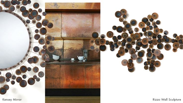 Arteriors kensey mirror rizzo wall sculpture arteriorstrends copper