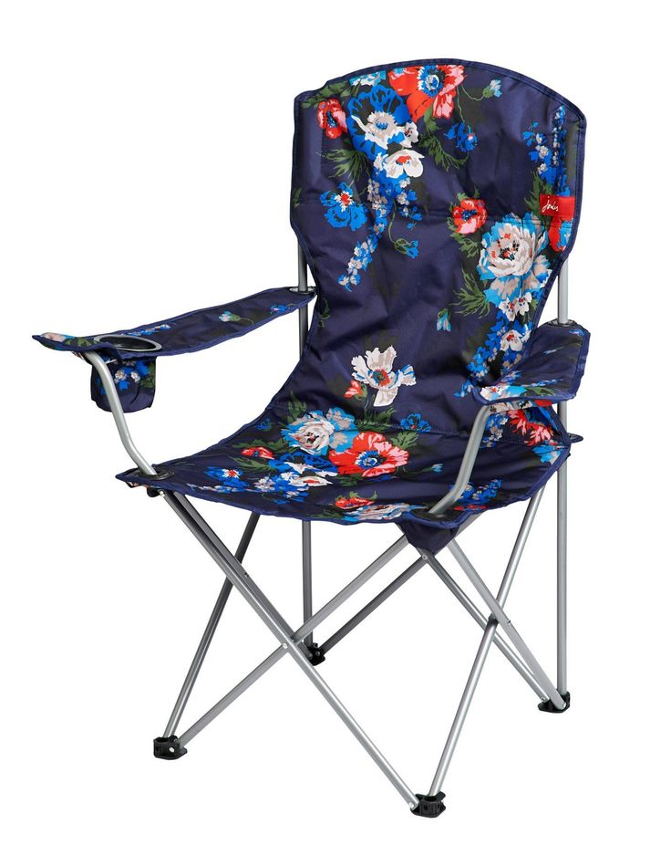 Joules Lightweight Lazy Chair, Navy Floral.                     Camping trips, festivals or even at the beach. Sit back and enjoy the summer wherever you are.