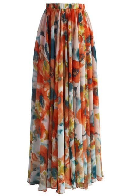 Women Casual Skirts Plus Sizes Chiffon Long Skirt Bohemian Style Elegant Women Print Floral Chiffon Maxi Skirt For Women Do you want it Visit our store