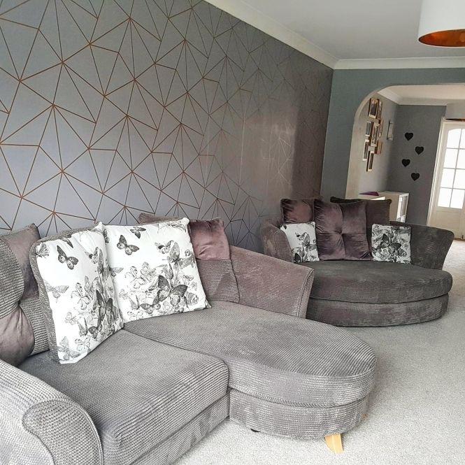 Zara Shimmer Metallic Wallpaper Charcoal Copper Grey Wallpaper