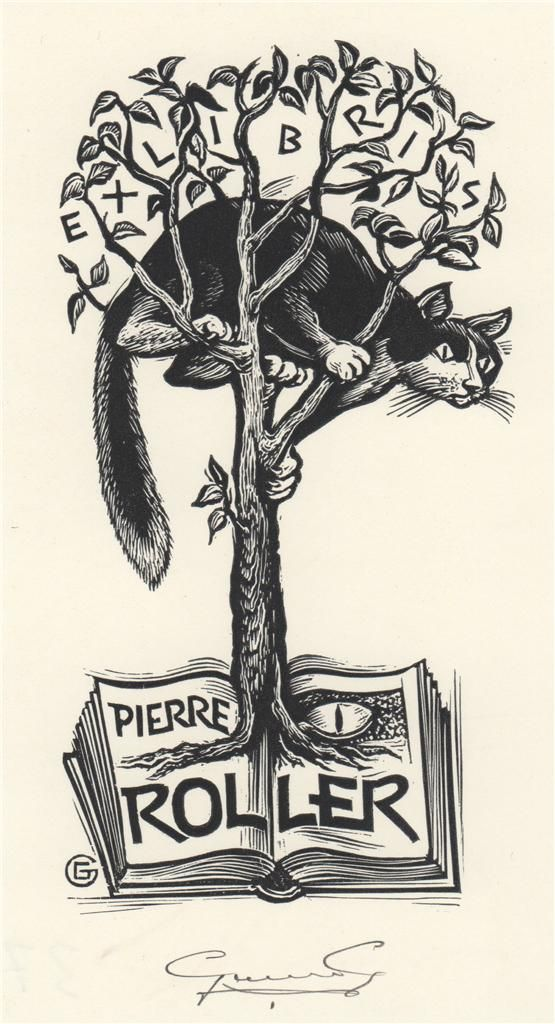 ≡ Bookplate Estate ≡ vintage ex libris labels︱artful book plates - Kitty in the Tree by Gérard Gaudaen