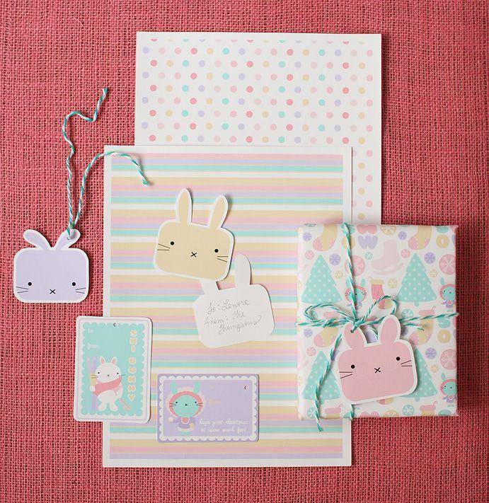 Kawaii digital and printable kit from Chelsea Ann. Love those bunny faces! Cute gift wrap ideas.