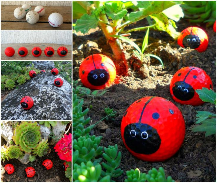 These cute golf ball ladybugs are sure to brighten up your garden .  Check tutorial--> http://wonderfuldiy.com/wonderful-diy-adorable-golf-ball-ladybugs/