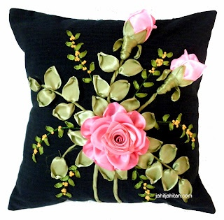 Matching cushion cover - Combination of ribbon embroidery and craft