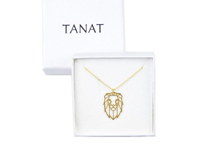 Gilded LION ORIGAMI necklace. Pz naszyjnik origami lew. http://www.tanat.eu/naszyjniki/1934-pz-naszyjnik-origami-lew.html #necklace #lion #goldlion #origami #simpleform #geometrynecklace