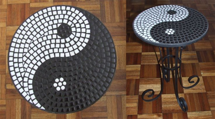 Black and White Ying Yang mosaic Table by EleonoraIlieva.deviantart.com on @deviantART