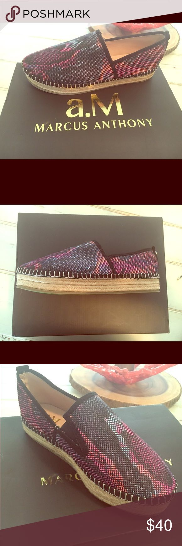 *sale* Tribeca Espadrilles - Marcus Anthony Brand new in box. Never been worn. Size 8. Fuschia snake color pattern. Shoes Espadrilles