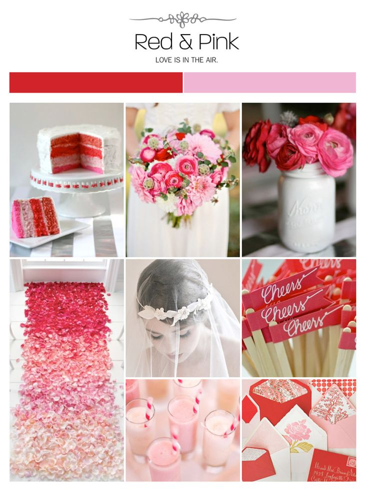 red, pink and white wedding inspiration board, color palette, mood board via Weddings Illustrated