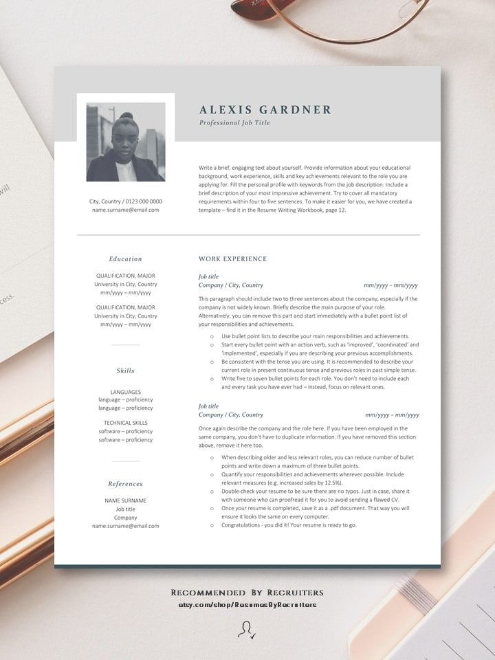Elegant Resume Template With Photo Instant Download Cv Etsy Resume Template Resume Design Resume Design Professional