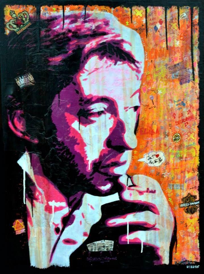 JE T'AIME, MOI NON PLUS !  Technique mixte sur toile en lin de 97cm x 130cm. Portrait de Serge Gainsbourg