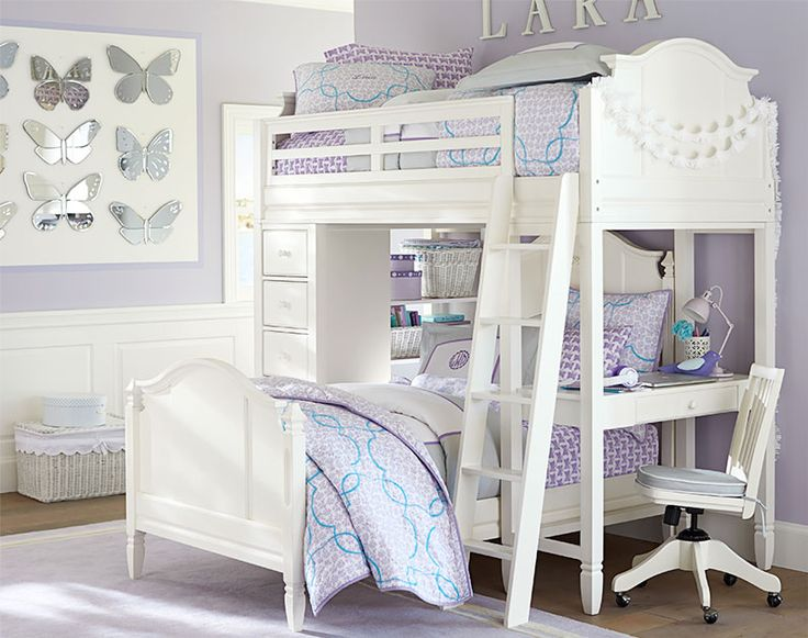 A Stylish Shared Room Of Soft Lavendar And Bright Blue