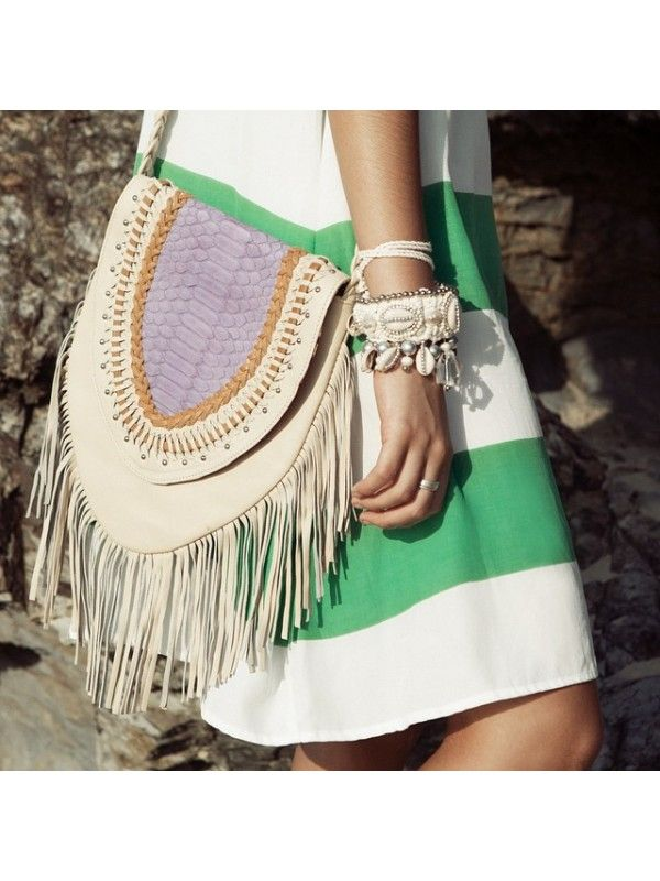 LOKOA TALLOW LEATHER FRINGE FESTIVAL BAG