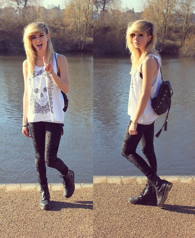 Skinny jeans, oversized tank, combat boots <3 even the backpack :3