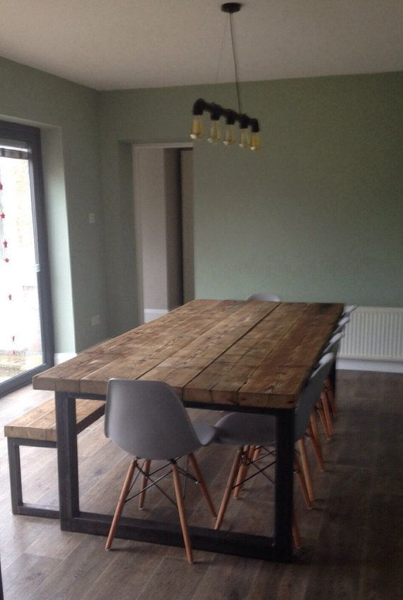 Reclaimed Industrial Chic 10-12 Seater Solid Wood and Metal Dining - moderner esstisch holz stahl