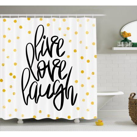 Live Laugh Love Shower Curtain Stylized Hand Lettering On Dotted Backdrop Inspirational Phrase Fabric Bathroom Set With Hooks 69W X 75L Inches Long