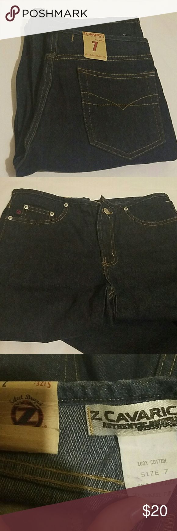 Retro Z Cavarici Jeans Please note the style on the waistline.   These are gorgeous.   Size 7.  Waist is approximately 30.  Length is approximately 32.  These are a dark wash.   These fall between a boot cut and a flare leg.  Hot. Z Cavarici  Jeans Flare & Wide Leg