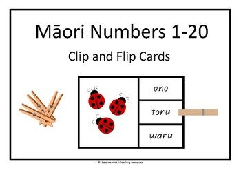 Clip and Flip cards for Mori Numbers 1-20  A fun, hands-on activity for reinforcing the knowledge and recall of numbers 1-20. Instructions: Count how many ladybirds are on the front of the card.  Read the words on the right.  Match the Mori word with the number of ladybirds and place a clothes peg on that word.