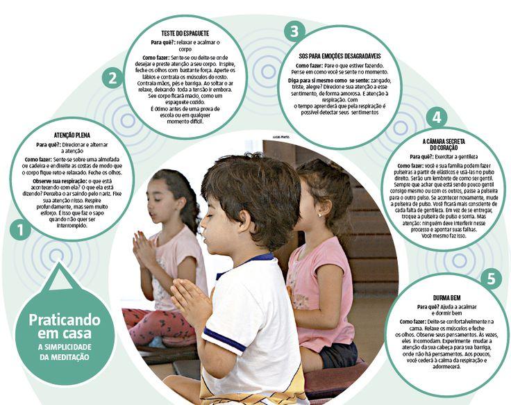 Fechar os olhos por alguns minutos e se desligar de tudo em volta parece difícil demais. Ainda mais nos dias atuais. O mundo moderno nos exige cada vez mais imediatismo e atenção em tudo e em todos, menos na gente. Por isso mesmo, aprender a focar no presente e vivê-lo com plenitude deve ser um exercício diário. Quanto mais cedo começamos, melhor (27/11/2016) #Meditação #Educação #Escola #Ensino #Infográfico #Infografia #HojeEmDia