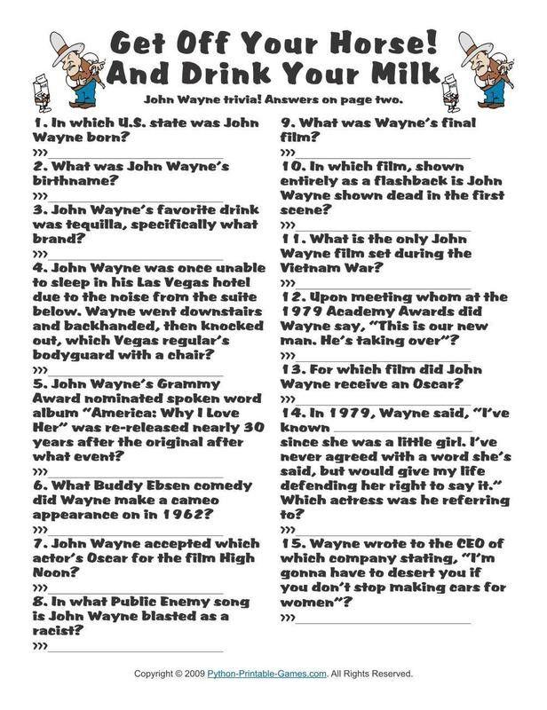Pop Culture Games John Wayne Trivia in 2020 Pop culture