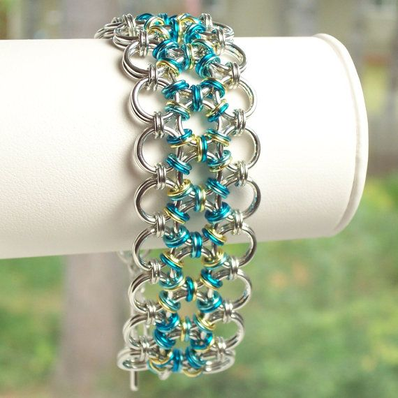 Japanese 12 in 2 Chainmaille Bracelet Chain Mail Jewelry Ice Blue, Peacock Blue, Non Tarnish Gold via Etsy