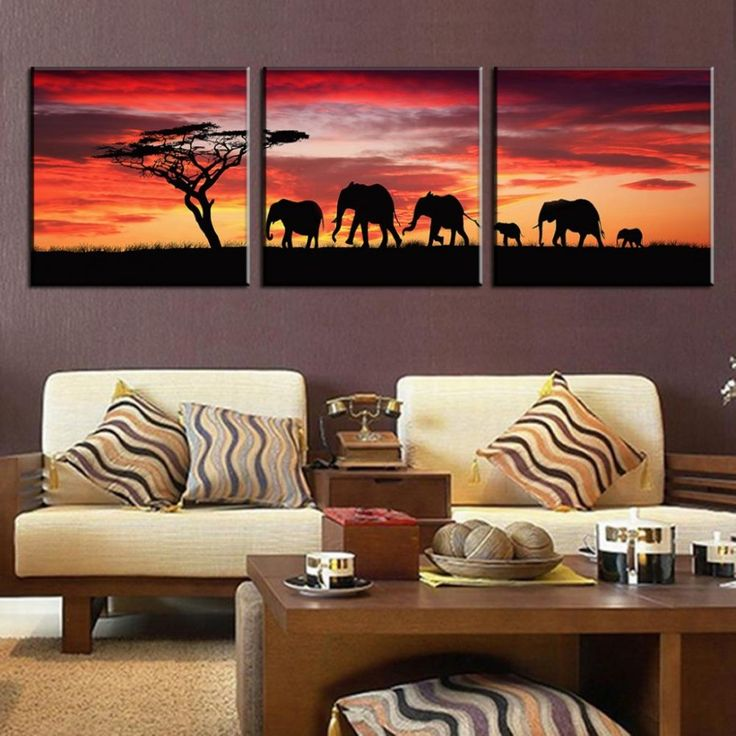 Living Room Contemporary Furniture Features African American Wall Art And Decor