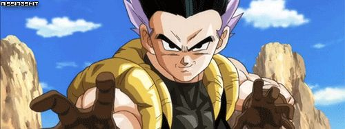 Adult Gotenks. Maybe I'm just not versed very well in DBZ video games, but I would like to see this in Xenoverse. Always have wondered what the adult version would be like. I think this gif is from Dragon Ball Heroes.