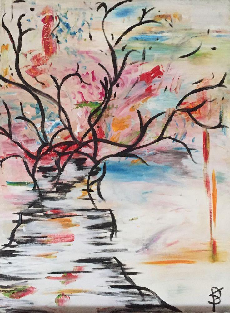 Happy tree 60-80 cm Acryl op doek www.liefsvansuzan.nl