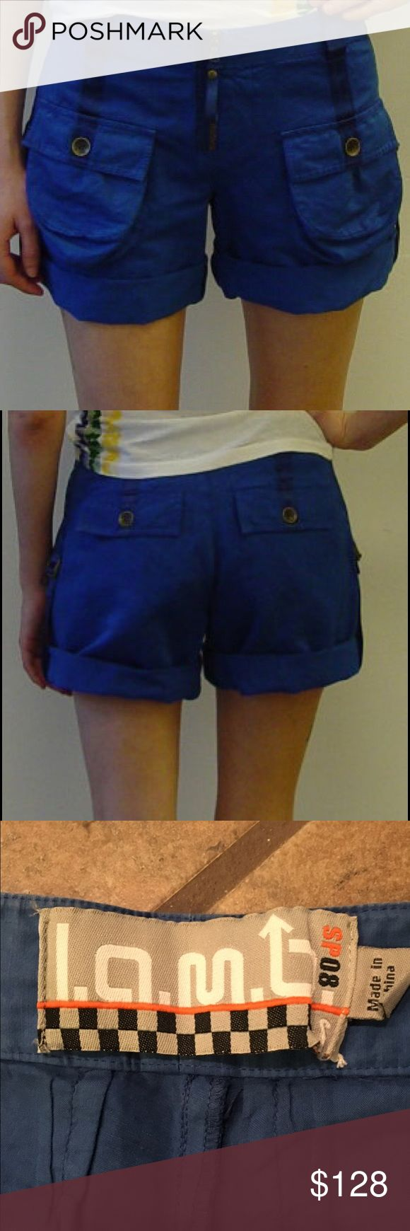 LAMB blue flight shorts size 6 Cute shorts! From Gwen Stefani's L.A.M.B (Love Angel Music Baby) fashion line. Size 6. Good condition. One of the back pocket buttons is coming a little loose. If I can find my sewing kit before purchase, I'll secure it so it's not loose anymore. Open to offers. I do bundle discounts. See my closet for more Gwen Stefani items (Harajuku Lovers, Gx, etc...) as well as Free People, One Teaspoon, Urban Outfitters, Lululemon, and more! :) No trades. L.A.M.B. Shorts
