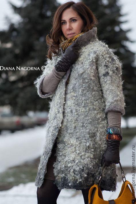 """Купить Войлочное пальто в технике """" Эко-мех"""" - серый, однотонный, пальто женское"""