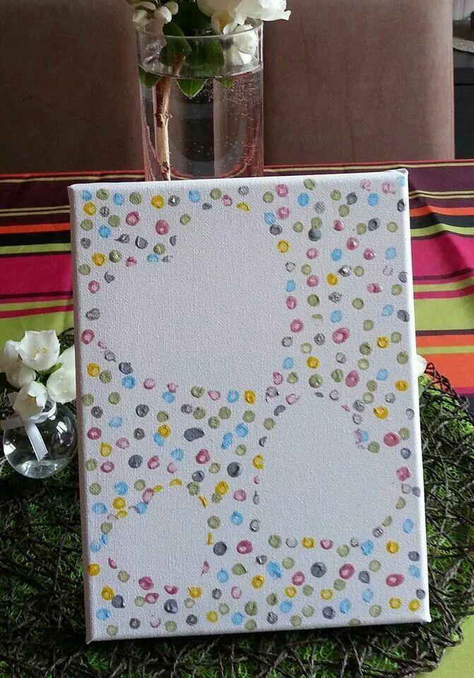 """canvas schillderijtje . d.m.v. een sjabloon van een hartje de ruimte daaronder vrij houden en met wattenstaafjes """"tippen""""met verf. Achterkanten van potloden met gummetjes werkt ook prima"""