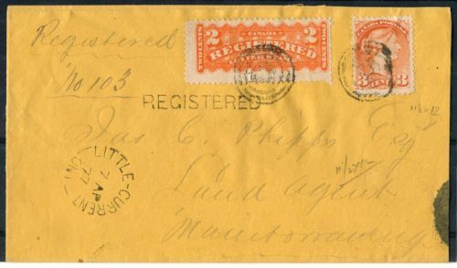 Canada-F1-37iii-2c-Orange-1875-1888-Registered-on-1877-Manitoulin-Island-Cover
