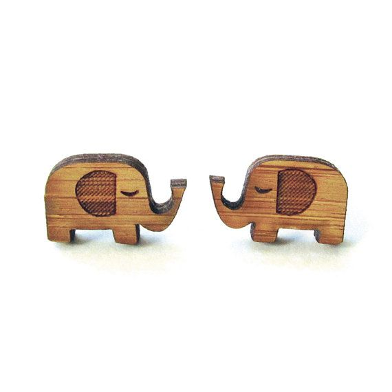 Little Elephants - Bamboo Wood Earrings - Laser cut - Stud - Cute on Etsy, $12.00