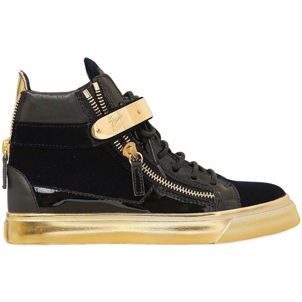 GIUSEPPE ZANOTTI 20mm Bangle Velvet & Patent Sneakers ($875) ❤ liked on Polyvore featuring shoes, sneakers, giuseppe zanotti, velvet sneakers, patent leather shoes, velcro strap shoes and zip shoes