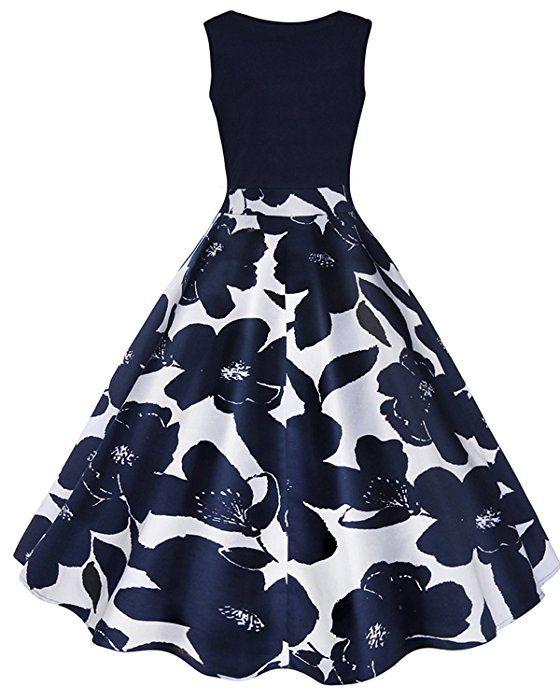 197477fc3 ZAFUL Mujer Vintage Vestido Años 50 Falda Plisada Grandes Impresión ...