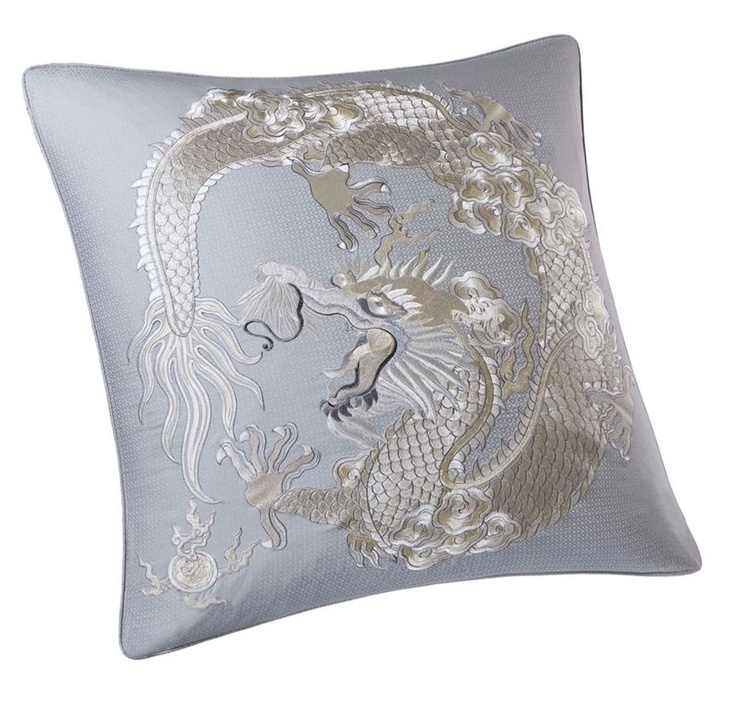 Luxe Silk Dragon Embroidery Pillow Courtesy of InStyle-Decor.com Beverly Hills Inspiring ...
