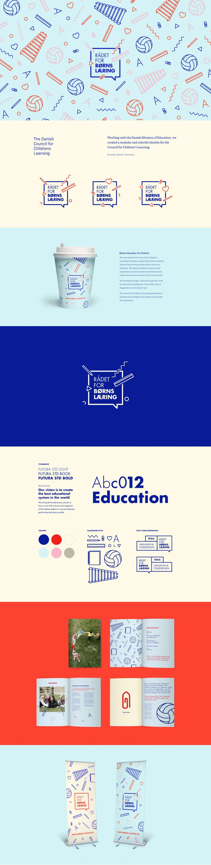 The Danish Council for Childrens Learning Working with the Danish Ministry of Education, we created a modular and colorful identity for the Council for Children's Learning.