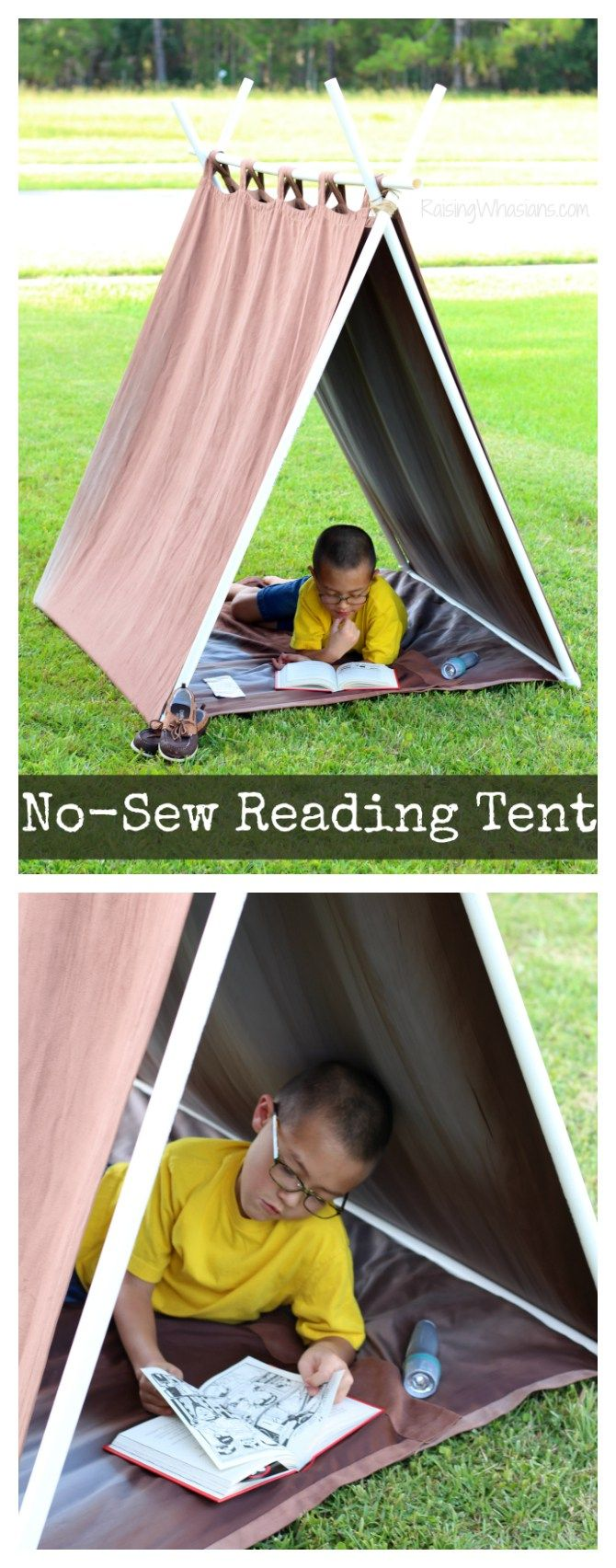 DIY No-Sew Reading Tent for Kids | Teepee inspired tent, perfect for summer reading! Made in minutes for under $20 (AD)