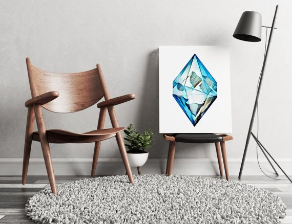 FREE SHIPPING ALL OVER THE WORLD!  Hand painted art. Blue diamond mountains. Perfect for your living walls Great gift idea for your friends.  Printed on 100% cotton canvas with wooden frame and metal hanger. Available in 3 dimensions.  Check out our ROOSTER painting as well: https://www.etsy.com/listing/511958727/rooster-wall-art-canvas-print?ref=shop_home_active_1  ZuskaArt : artwork | watercolor painting | art prints | canvas art | framed art | canvas painting ...
