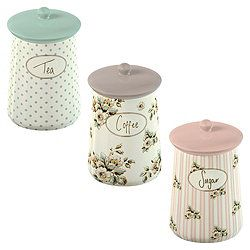 Katie Alice Ceramic Tea, Coffee and Sugar Canister Set .... I love these! I am now the proud owner of these!