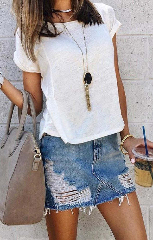 Fall Outfits Womens White Crew Neck Top And Blue Denim Ripped Mini Skirt