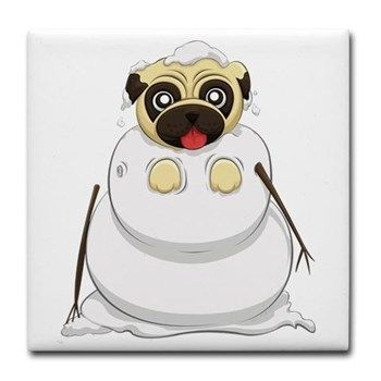 Snowman Pug Tile Coaster from cafepress store: AG Painted Brush T-Shirts. #pug #snowman #coaster