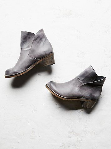 Brooks Ankle Boot | Distressed leather ankle boots, featuring Spanish craftsmanship, chunky wooden heels, and cool split leather design with hidden interior gussets.  *By Free People