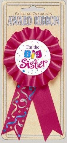 "Adorned in Bright Pink (Magenta) Ribbon, this Big Sister Award Ribbon sayd ""I'm the Big Sister.""  1 per package.  3"" wide, by 6"" tall (including ribbon)."