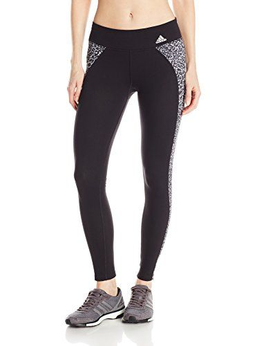 adidas Performance Women's Clima Studio Mid-Rise Long Tights, Medium, Black  inseam (size Med) climalite fabric sweeps sweat away from your skin Stretch  ...