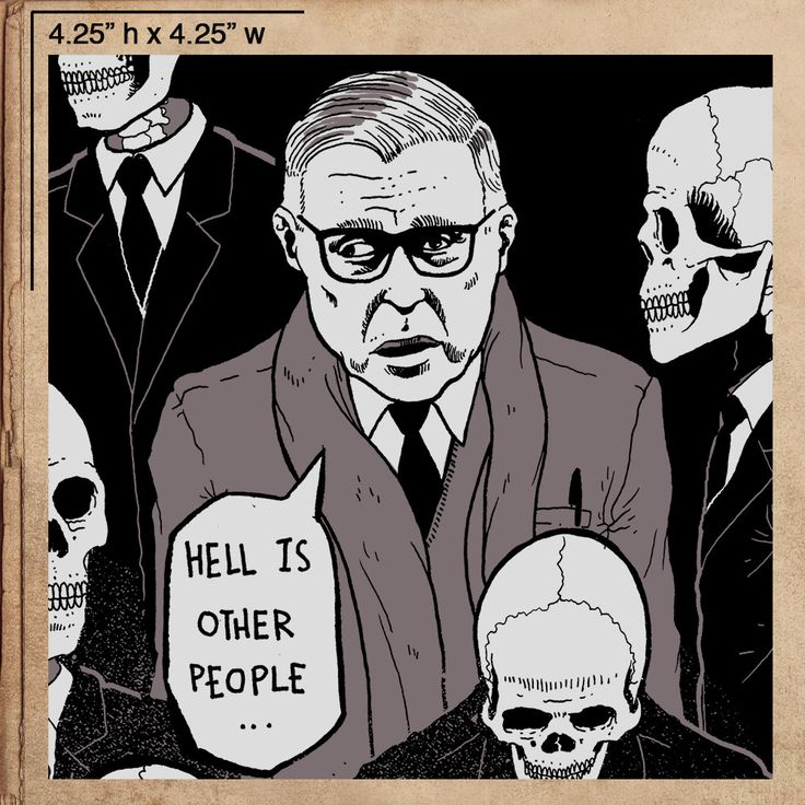 """Hell is other people Sartre No Exit Sticker 4.25"""" x 4.25"""""""
