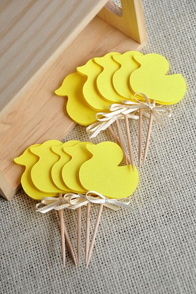 Gender Neutral Baby Shower Decorations. Ships in 2-5 Business Days. Yellow Duck Cupcake Toppers 12CT.